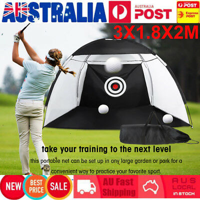 Golf Practice Driving Hit Net Cage Training Mat Aid Driver Irons w/ Free Bag AU