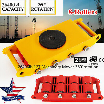 12T Industrial Machinery Mover+360°Rotation Cap 26400lbs 8 PU Rollers Yellow/Red