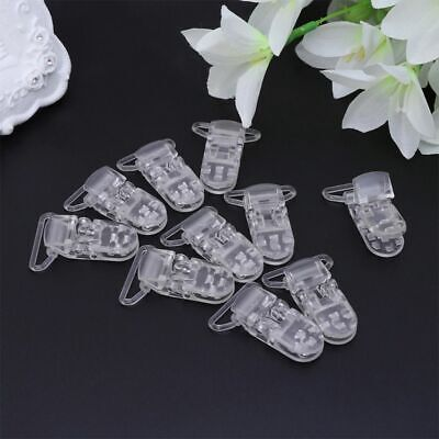10pcs/lot 25mm ClearTransparent Plastic Baby Pacifier Soother Holder Chain Clips
