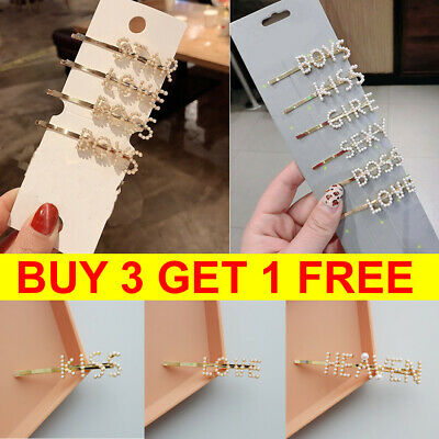 Women's Girls Pearl Words Hair Clips Gold Letters Hairpin Slide Grips Barrette
