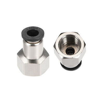 "Push to Connect Tube Fitting Adapter 6mm OD x G1/4"" Female Silver Tone 2pcs"