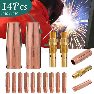 14Pcs MIG Welding Tool 0.8/0.9MM Contact Tip 1/2'' Gas Nozzle Gas Diffuser Kit