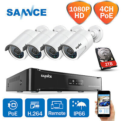 SANNCE 1080P 4CH PoE NVR Outdoor IP Network CCTV 2MP Security Camera System 2TB