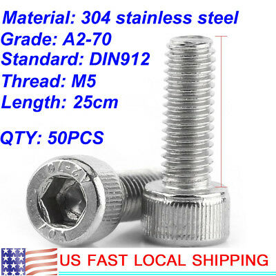 50pcs 304 Stainless Steel Phillips Round Head Screws Bolt  M5 x 25mm US SHIP
