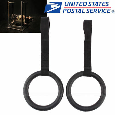 2pcs Gymnastic Ring Olympic Strength Training Rings Crossfit Gym Fitness Black