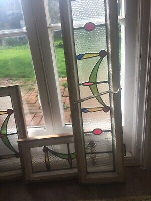 antique stained glass windows set of three