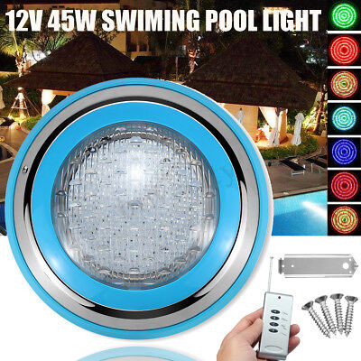 45W RGB LED Stainless Steel Swimming Pool Light Underwater SPA w/ Remote Control