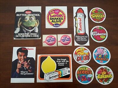 Vintage Allens Allen's confectionery & Scanlens stickers  circa late 1970's