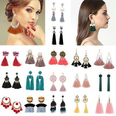 Women Earrings Bohemian Long Tassel Fringe Dangle Drop Boho Jewelry Ear Stud Lot