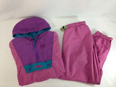 VTG 80's Columbia Track Suit Womens Medium Pullover Windbreaker Large Pink Pants