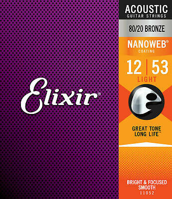 Elixir 11052 Acoustic Guitar Strings  Light 12-53 Nanoweb 80/20 Bronze Brand New