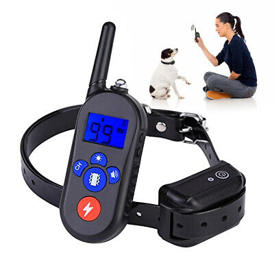 Waterproof Dog Shock Training AntiBark Electric Trainer Led Remote Control Black
