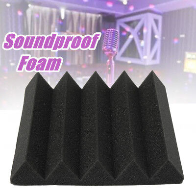 Acoustic Wedge Foam Charcoal Tile Sound Absorption Wall Panel Black 25x25x5cm