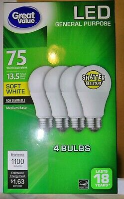 Great Value 13.5 watts 75 watt equivalent LED 4 pack Light Bulbs soft white A19