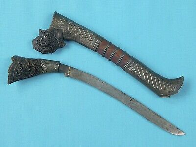 Antique Old Philippines Fancy Silver Carved Wood Fighting Knife w/ Scabbard
