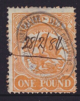 Victoria Rare 1884 £1 Pound Orange Qv Stamp Duty Used Sg 262 $150+ (Dd51.2 )