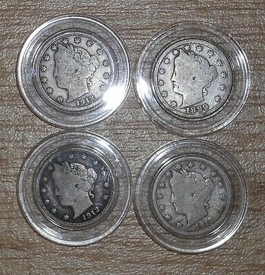 "1899-1912 5C Liberty ""V"" Nickel - 4 Coin Lot In Capsules - Nice Coins - T019"