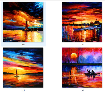 Canvas print from oil painting abstract sunset seascape for home wall art DECO