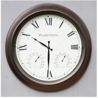 Jonart Design Windermere 46cm Wall Clock With barometer and thermometer, Garden