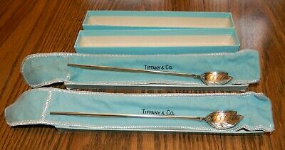 Tiffany & Co. Sterling Silver Leaf Shaped Ice Tea Mint Julep Spoon/Straw in box!