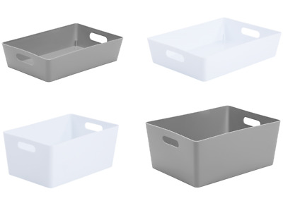 Small Large Rectangle Plastic Storage Baskets Boxes Tray Kitchen Home Office