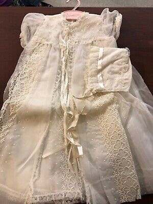 Vintage Madonna 0906 White 4pc Long Christening Outfit Baby 3-6 mos