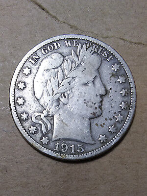 1915 S 50C Barber Half  Circulated  90 % Silver US Coin VG++  #CO40