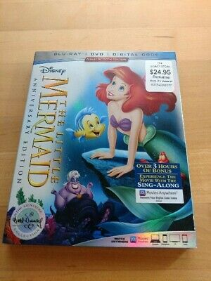 Disney The Little Mermaid 30th Anniversary (BLU-RAY + DVD + DIGITAL) BRAND NEW!!