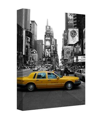 Black White Yellow Taxi  New York City  Painting Canvas Wall Art Picture Print