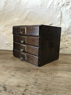 Vintage Wooden Filing Drawers Cabinet Curiosity Jewellers Stacking Antique