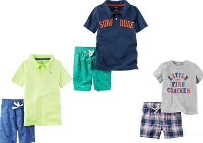 Carter's Baby Boys 2 Pc Shirt & Shorts Set NWT Size 3M or 6M Yellow Navy Gray