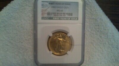 NGC 1986 MS 69 FIRST YEAR! 1/2 oz gold eagle excellent condition! $1050.00 NGC !