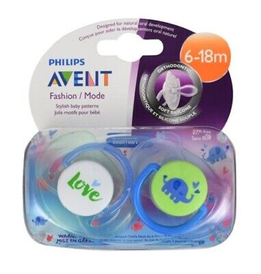6-18m Pink//Green Philips Avent Fashion Soft Silicone Pacifier w// Cover 2 Pack
