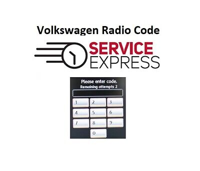 VW Radio Code | RCD 200 210 215 300 310 500 510 Gamma Beta Alpha etc..