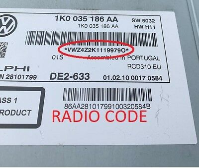 *Official* VW Radio Code Unlock BETA GAMMA RNS RCD Volkswagen Unlock Code PIN