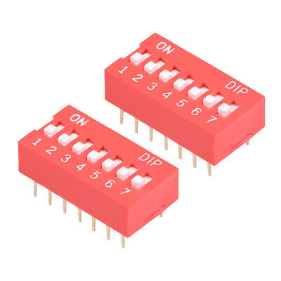 2 Pcs Red DIP Switch Horizontal 1-7 Positions 2.54mm Pitch for Circuit  PCB