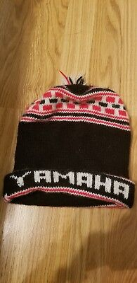 752724449 VINTAGE YAMAHA WINTER Ski Beanie Hat Motorcycle Puff Ball 70s 80's