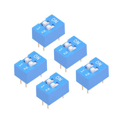 5 Pcs Blue DIP Switch Horizontal 1-2 Positions 2.54mm Pitch for Circuit PCB