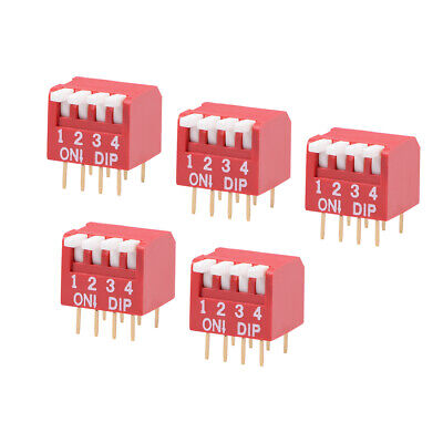 5 Pcs Red DIP Switch Piano-Dip 1-4 Positions 2.54mm Pitch for Circuit PCB