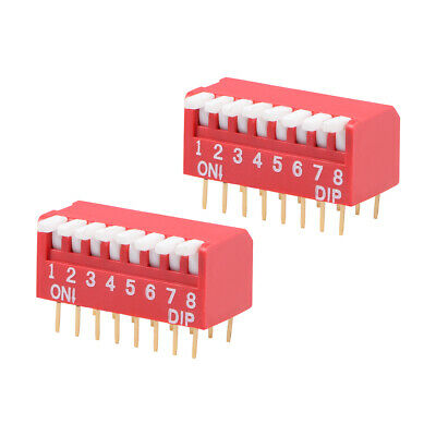 2 Pcs Red DIP Switch Piano-Dip 1-8 Positions 2.54mm Pitch for Circuit PCB