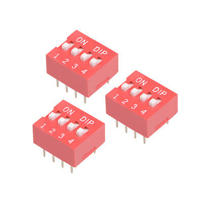 3 Pcs Red DIP Switch Horizontal 1-4 Positions 2.54mm Pitch for Circuit  PCB