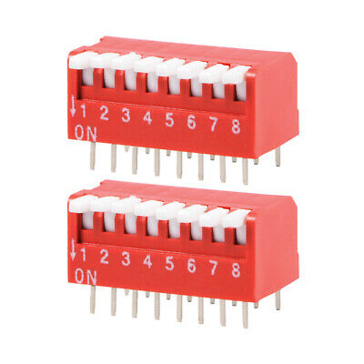 2Pcs Red DIP Switch Piano-Dip 1-8 Positions 2.54mm Pitch for Circuit PCB
