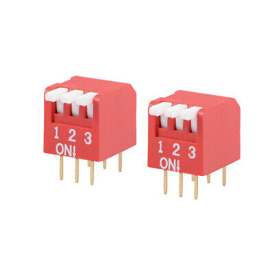2 Pcs Red DIP Switch Piano-Dip 12 3 Positions 2.54mm Pitch for Circuit PCB