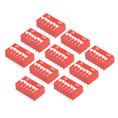 10 Pcs Red DIP Switch 1 2 3 4 5 6 Positions 2.54mm Pitch for Breadboards PCB