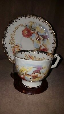 Rare and gorgeous Vintage AYNSLEY BONE CHINA ORCHID Teacup & Saucer  England.