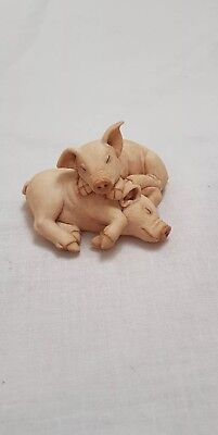 Country Artists Sherratt And Simpson Pink Pig Pair Figurine