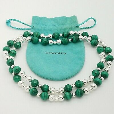 """Tiffany & Co. Sterling Silver 925 Malachite 10 mm Beaded 28"""" In Necklace Pouch"""