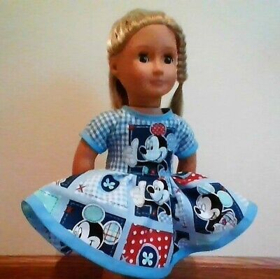 New Generation Doll Clothes Mickey Mouse Patches Blue Dress Fits 18 Inch Doll