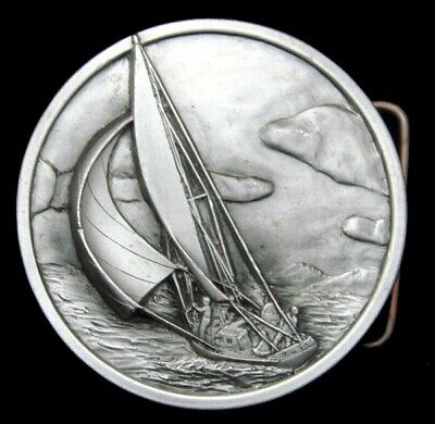 Rg24124 *Nos* Vintage 1977 Bergamot **Sailboat On The Ocean** Pewter Belt Buckle