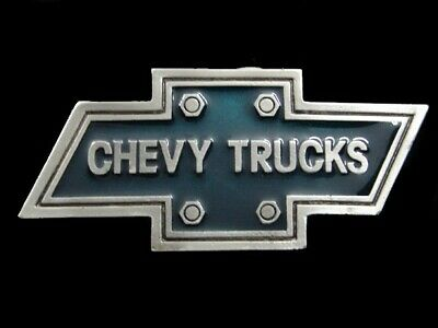 RK05133 VINTAGE 1970s **CHEVY TRUCKS BOWTIE LOGO** BELT BUCKLE